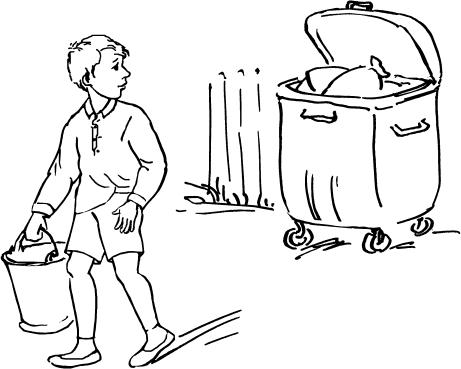 Рисунок убирает мусор