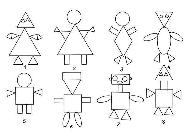 картинки веселых человечков из геометрических фигур нем