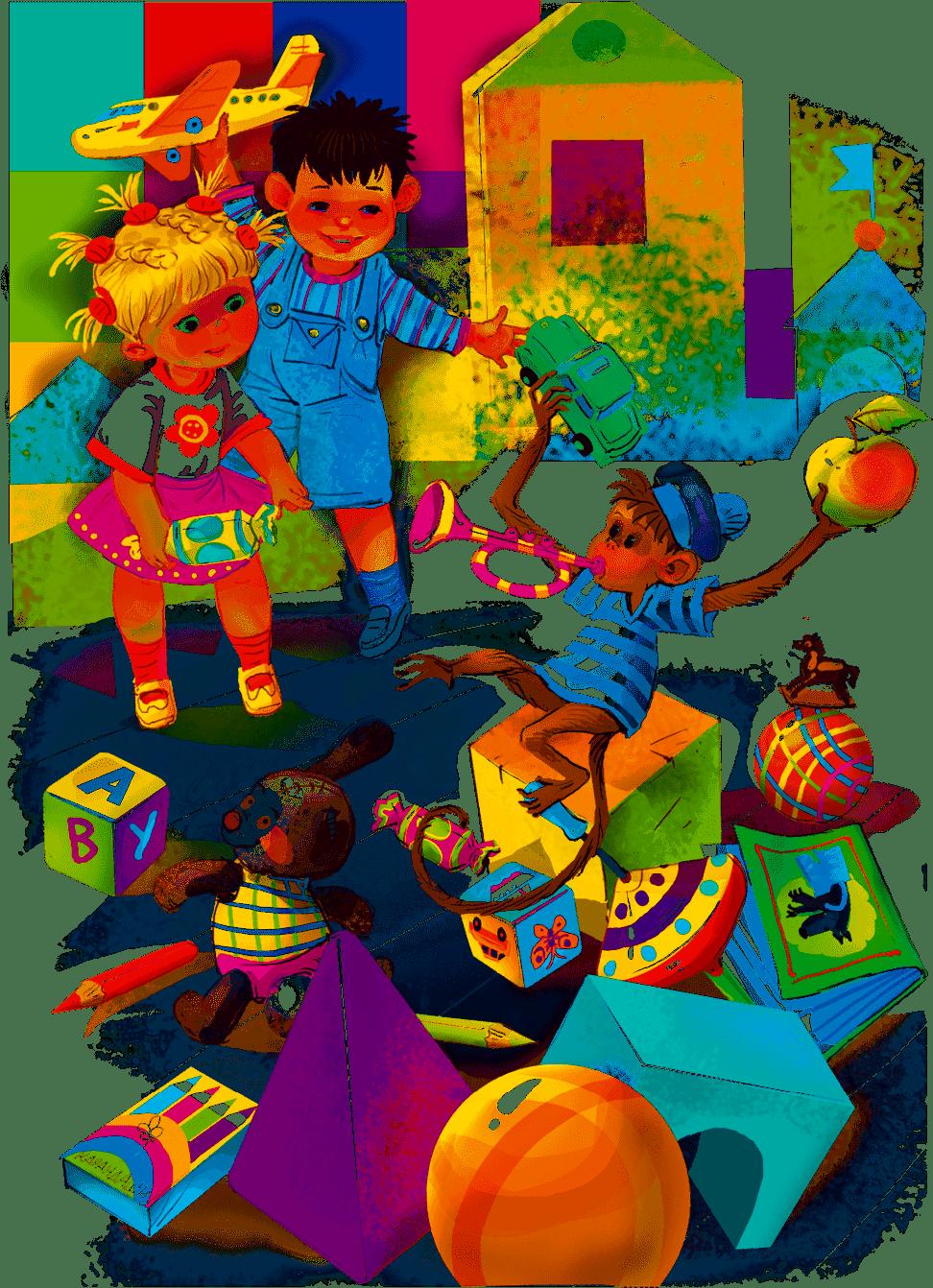 Рисунок дети и игрушки