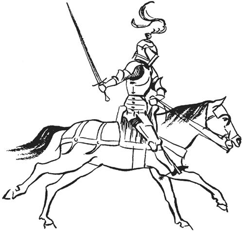 взять раскраска рыцарь на коне с мечом для гибки