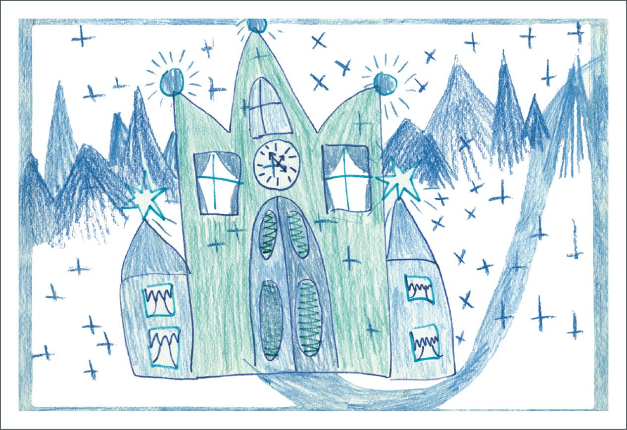 Рисунок дворец деда мороза подготовительная группа
