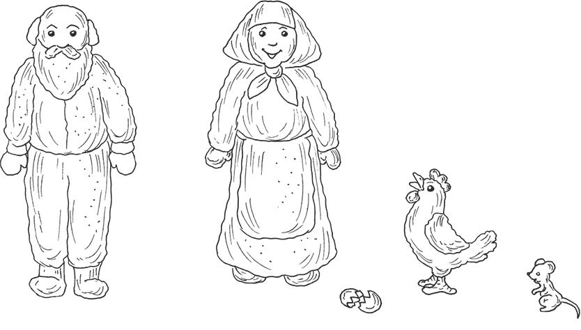 также персонажи сказки курочка ряба картинки раскраски один